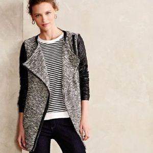 Anthro Cartonnier Black Tweed Tela Moto Jacket
